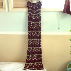 Long strapless maxi dress